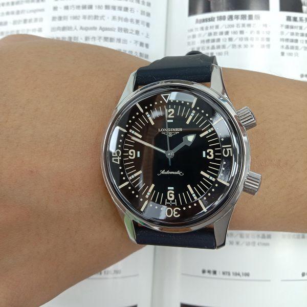 台中流當品拍賣 二手極新 原裝LONGINES 浪琴 不鏽鋼 自動 潛水錶 男錶 喜歡價可議 ZR508