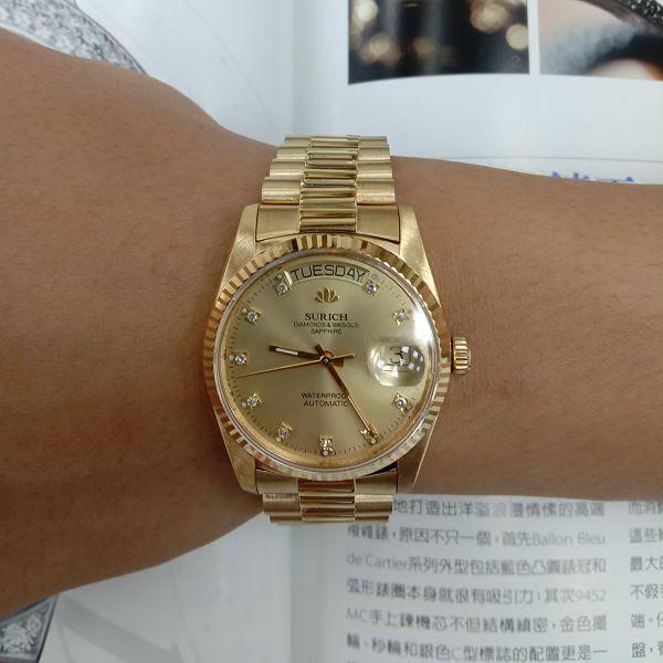 台中流當品拍賣 原裝 SURICH 蘇黎世 十鑽面 18K金 自動 男錶 9成5新 喜歡價可議 ZR511